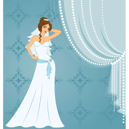 fiancee: Beautiful bride in white dress. Vector