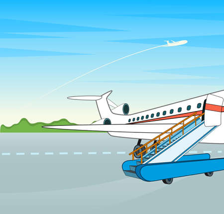 forage: Airplane with a ladder on a flight bar. Stock Photo