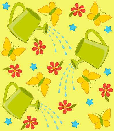wateringcan: happy background with watering-can, butterfly and flowers Stock Photo