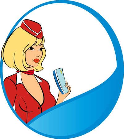 Beautiful stewardess with air ticket. photo