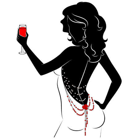 black breast: Sexy women in dress. Vector Illustration