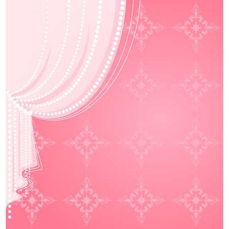 Vector pink curtain Иллюстрация