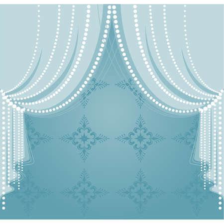 terciopelo azul: Vector azul cortina Vectores