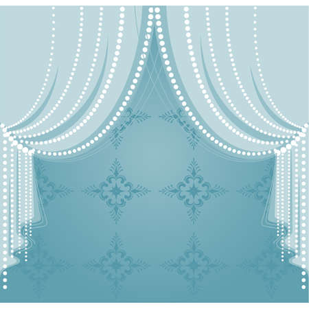 fringe: Vector blue curtain Illustration