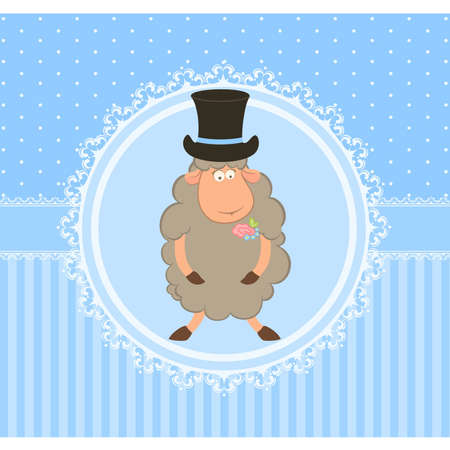 Cartoon sheep fiance on background Stock Vector - 9872058