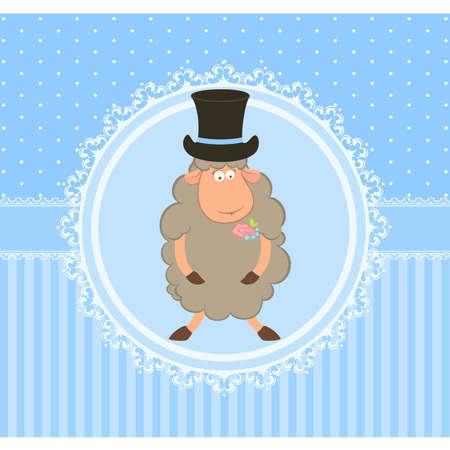 fiance: Cartoon sheep fiance on background Illustration
