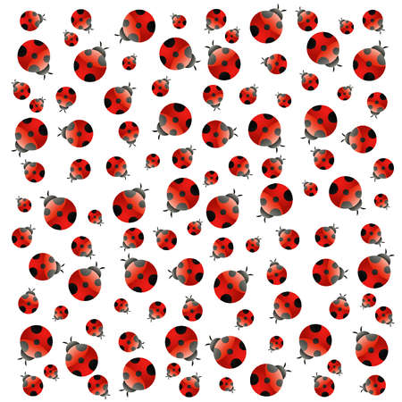 ladybug cartoon: White background with small ladybugs. Vector Illustration