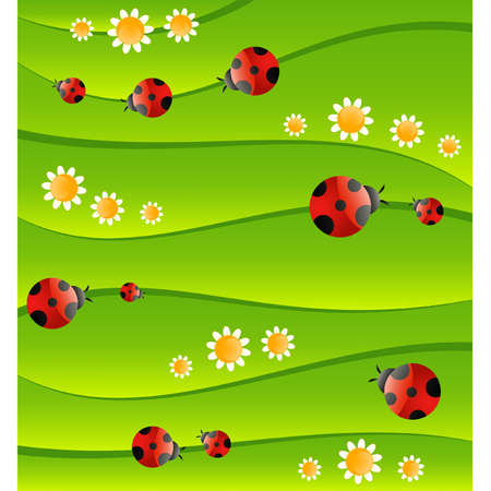 Green background with small ladybug Vector