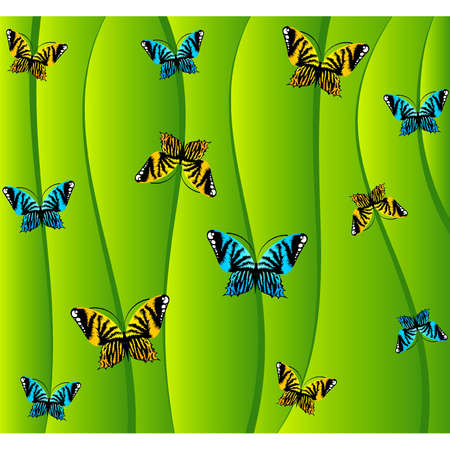 Green background with small butterflies Vector