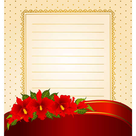 Background with beautiful flowers and lace ornaments Vector