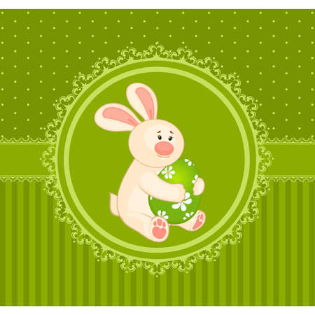 Easter Bunny with colored egg. Easter card Vector