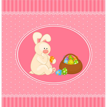 Easter Bunny with basket and colored eggs. Easter card Vector