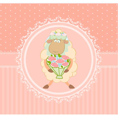 Cartoon sheep bride on background Stock Vector - 9872079