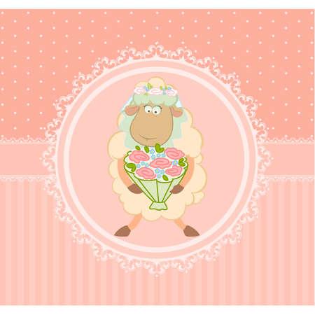 Cartoon sheep bride on background Stock Vector - 9872079