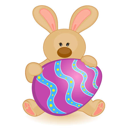 Easter Bunny with colored egg. Easter card Stock Vector - 9871843