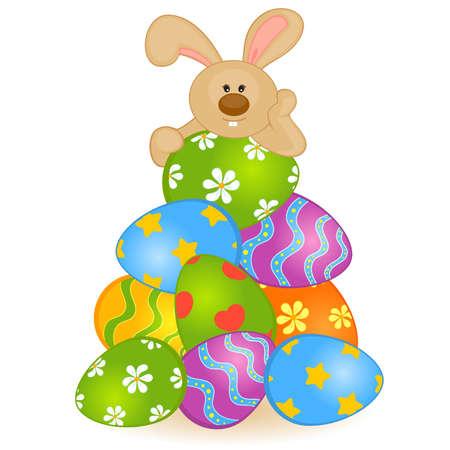 Conejito de pascua con huevos de colores. Tarjeta de Pascua Vectores