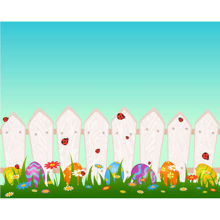 symbol fence: Wooden fanse with Easter colored eggs. Easter card Illustration