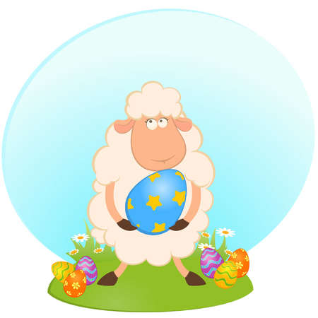 Easter sheep with colored egg. Easter card Vector