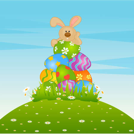 chocolate egg: Set of Easter Bunnies with colored eggs. Easter card Illustration