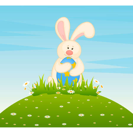 eggs in basket: Set of Easter Bunnies with colored eggs. Easter card Illustration