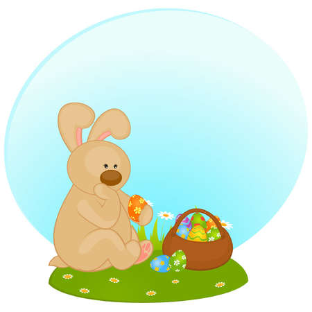 gift basket: Set of Easter Bunnies with colored eggs. Easter card Illustration