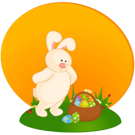 Set of Easter Bunnies with colored eggs. Easter card Stock Vector - 9871901