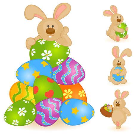 buona pasqua: Set di coniglietti di Pasqua con uova colorate. Easter Card