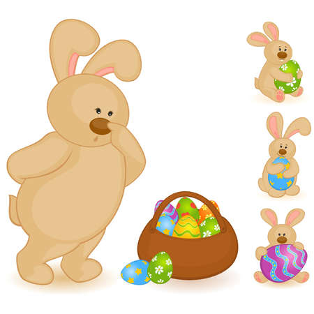 Set of Easter Bunnies with colored eggs. Easter card Vector