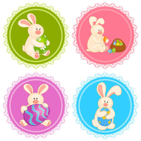 egg plant: Set of Easter Bunnies with colored eggs. Easter card Illustration