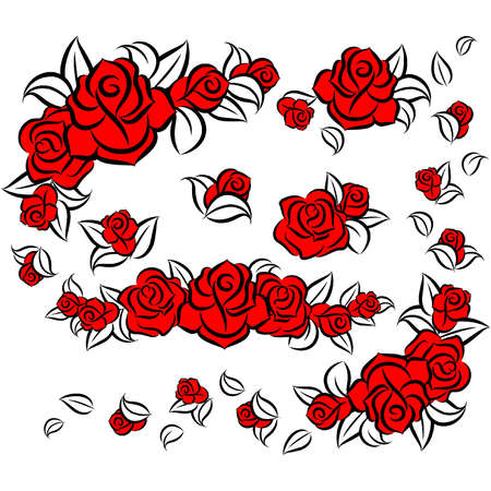 White background with beautiful flowers Vector