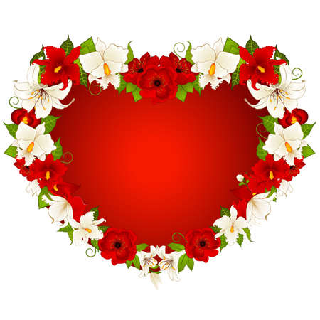 Red heart with  beautiful flowers Stock Vector - 9872114