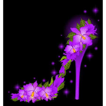 High heel from  orchids Stock Vector - 9872001