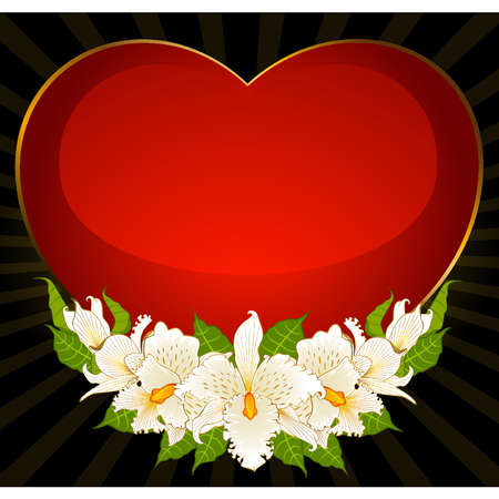Background with heart and red beautiful orchids. Vector Vector
