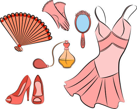 Cartoon vintage woman's elements. Stock Photo - 10327778
