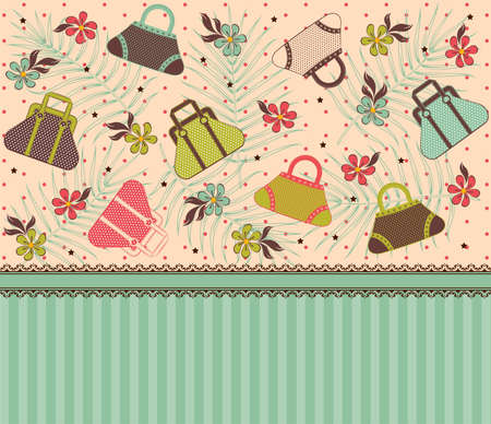designer bag: Dibujo animado de bolsa de la mujer  Foto de archivo