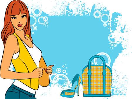 heel strap: Beautiful girl with cartoon woman