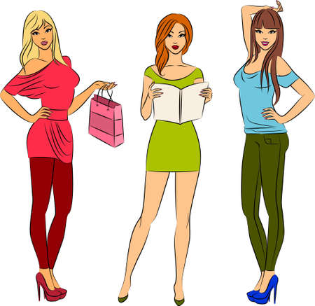 sexy pictures: Beautiful fashion shopping girls Stock Photo