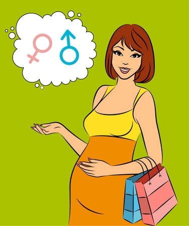 Beautiful shopping pregnant woman.  Stock Photo - 10326983