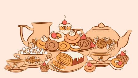 Vintage tea set and sweet cakes. photo