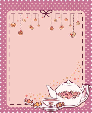 Vintage tea set and sweet cakes. Stock Photo - 10432860