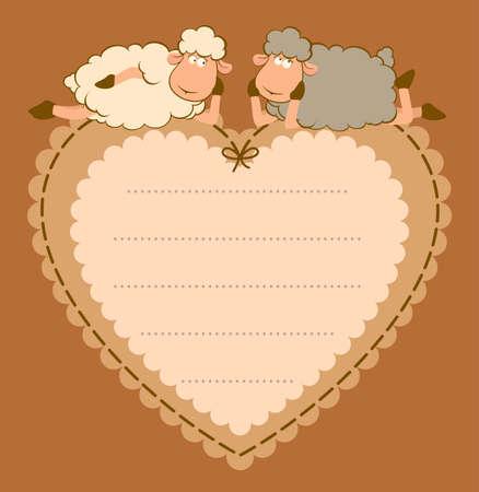 Illustration of cute sheep on the heart illustration