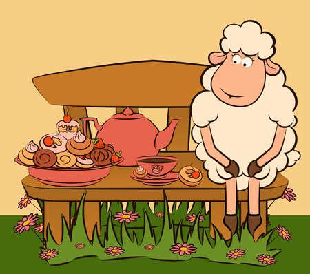 cartoon sheep with sweet cakes and tea photo