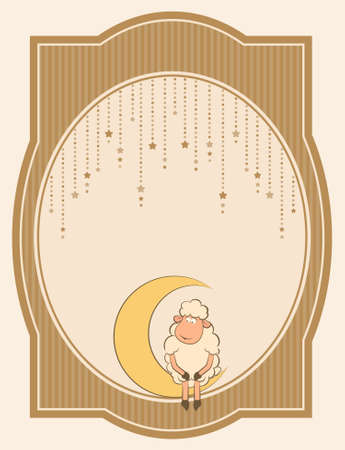Illustration of cute sheep on moon illustration