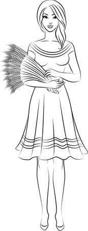 sheaf: Beautiful girl with sheaf of wheat.