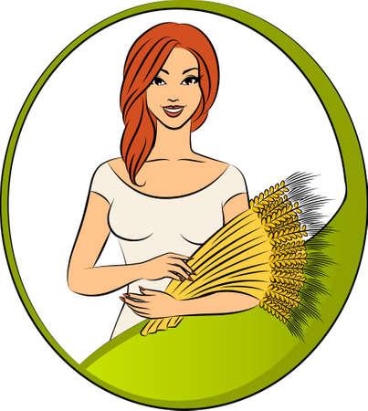 Hermosa chica con la gavilla de trigo. Foto de archivo - 10553975
