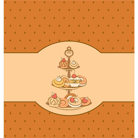Vintage background with sweet cakes. Vector Фото со стока - 10553958