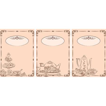 vintage cafe: Tea set vintage e torte dolci. Vettore