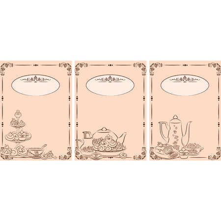 sugar spoon: Vintage tea set and sweet cakes. Vector Illustration