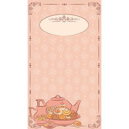 hot plate: Antiguo juego de t� y pasteles dulces. Vector
