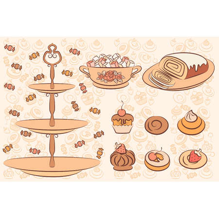 Vintage background with sweet cakes. Vector Vector
